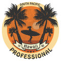 Hawaii surfer sign abstract color illustration Stock Photos