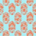 Hawaii tiki tribal mask seamless simple pattern.