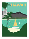 Hawaii usa honolulu city diamond head and waikiki beach Royalty Free Stock Images