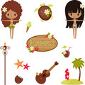 Hawaii vector symbols and icons. Stock Image