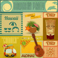 Hawaii vintage card set of stickers for hawaiian party in retro style illustration Stock Photos