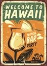 Hawaii vintage metal sign