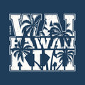 Hawaii Waikiki tee print with palm trees. Royalty Free Stock Photo