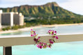 Hawaii waikiki travel lei flower necklace concept icon in front of beach and diamond head state monument in honolulu Royalty Free Stock Image