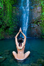 Hawaii waterfall woman Royalty Free Stock Image