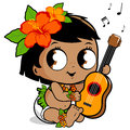 Hawaiian baby girl playing the ukulele Royalty Free Stock Photo