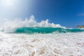 Hawaiian Bright Blue Shorebreak Pacific ocean wave Royalty Free Stock Photo