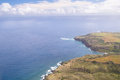 Hawaiian coastline an aerial view of the maui and bright blue water Royalty Free Stock Image