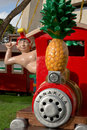 A hawaiian elf riding a pineapple train a display during the annual honolulu city lights festival in december Royalty Free Stock Photos