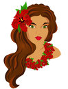 Hawaiian girl vecor beautiful young women portret all layers are signed easy editable have a good day Royalty Free Stock Photography