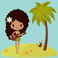 Hawaiian hula dancer is singing near a palm tree Royalty Free Stock Image