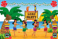 Hawaiian luau party a vector illustration of Royalty Free Stock Images
