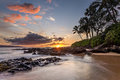 Hawaiian paradise sunset at photo taken from secret cove on the tropical island of maui idyllic image with the setting sun warm Stock Photography