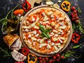 Hawaiian pizza gourmet meal special recipe Royalty Free Stock Photo