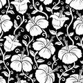 Hawaiian print. Seamless hibiscus flower background pattern. Royalty Free Stock Photo