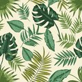 Hawaiian seamless pattern with exotic foliage. Tropical backdrop with leaves of jungle plants and palm branches. Natural