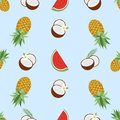 Hawaiian seamless pattern with tropical fruits and flowers. Vector illustration. Easy to use for backdrop, textile Royalty Free Stock Photo