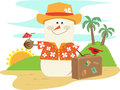 Hawaiian snowman cute cartoon on vacation eps Stock Photography