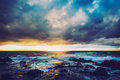 Hawaiian sunset dramatic stormy in hawaii Royalty Free Stock Photography