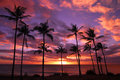 Hawaiian Sunset On Molokai Royalty Free Stock Photo