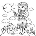 Hawaiian woman playing her guitar on an island. Coloring book page