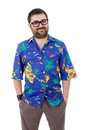 Hawaiian young silly man with a shirt isolated Royalty Free Stock Photography