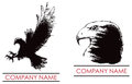 Hawk eagle logo a predator bird icon set Stock Photo