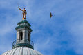 Hawk flying by the independent man providence ri atop state house dome in gets buzzed a Royalty Free Stock Photos