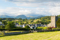 Hawkshead Lake District National Park England uk on a beautiful sunny summer day popular tourist village known for William Wordswo Royalty Free Stock Photo