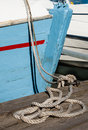 Hawser bridge front blue painted wooden boat Royalty Free Stock Photo