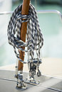 Hawser winch a sailing ship fixing his rope his detail Stock Photo