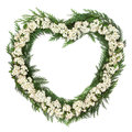 Hawthorn blossom wreath flower heart shaped over white background crataegus Stock Photos