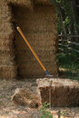 Hay Bails And Pitch Fork Royalty Free Stock Images