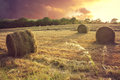 Hay bails at sunset Royalty Free Stock Photo