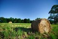 Hay bale in the moonlight Royalty Free Stock Images