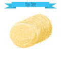 Hay bale vector illustration on white. Royalty Free Stock Photo