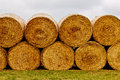 Hay bales on the field after harvest. Royalty Free Stock Photo