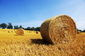 Hay bales in golden field bail harvesting landscape Royalty Free Stock Photos