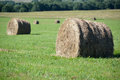Hay bales lie on a green meadow. Rural landscape Royalty Free Stock Photo
