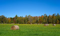 Hay Bales In Maine Field