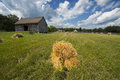 Hay and Barn on Old Vintage Wisconsin Dairy Farm Royalty Free Stock Photo