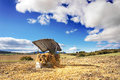 Hay stack for livestock feeding on countryside Stock Photography