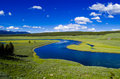 Hayden valley between lake and canyon in yellowstone national park wyoming Stock Photography