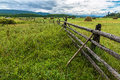 Hayfield in the tunka valley siberia Stock Photos