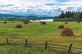 Hayfield in the tunka valley siberia Stock Photo