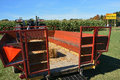 Hayride wagon and corn maze at a farmer s market Stock Photography