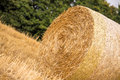 Haystack on the agriculture field during wheat harvest time Stock Photos