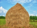 Haystack and blue sky village Royalty Free Stock Photos