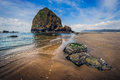 Haystack rock at cannon beach oregon Stock Images