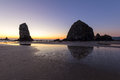 Haystack Rock at Cannon Beach after Sunset Royalty Free Stock Photo